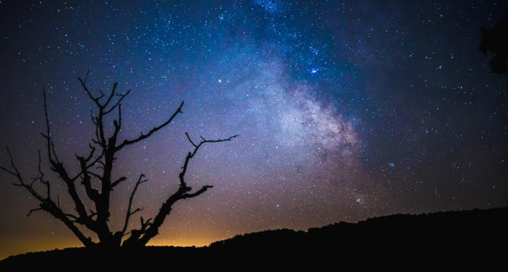 Night sky from a hill